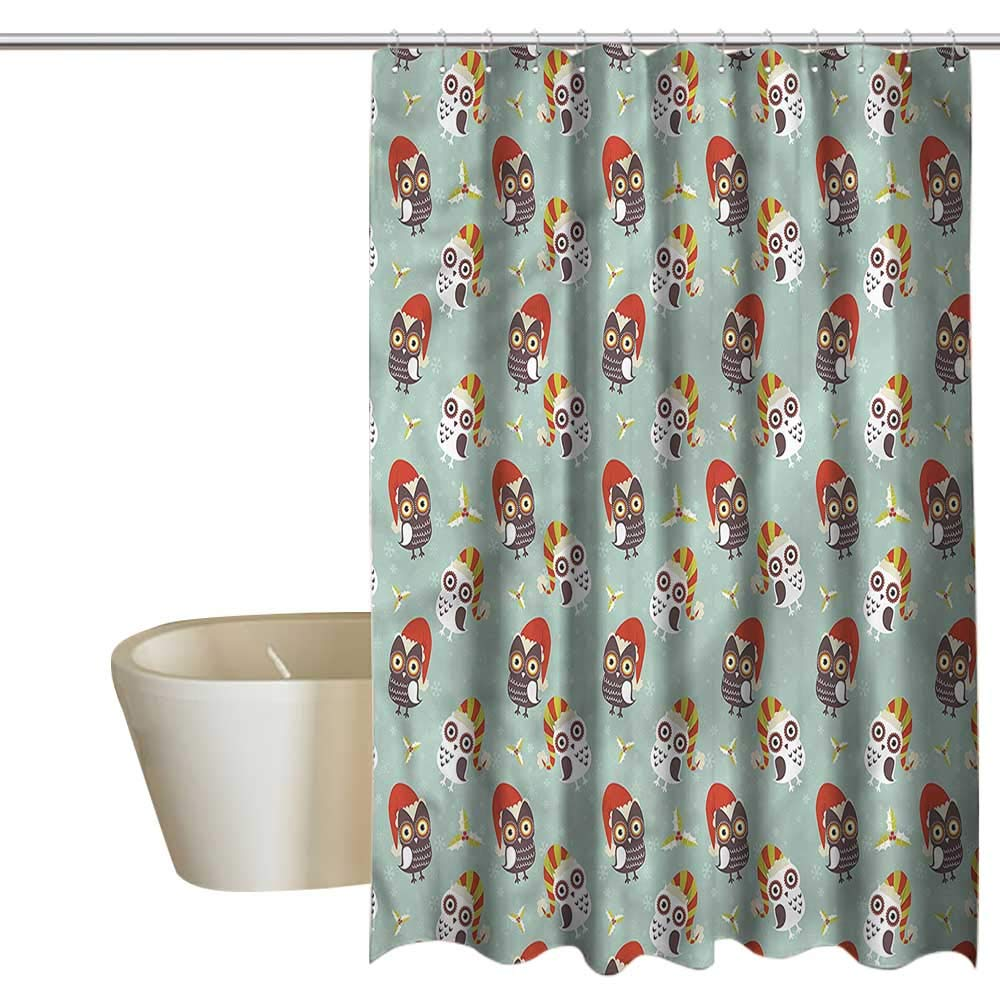 Denruny Shower Curtains Black with red Christmas,Owls in Hats Yuletide,W108 x L72,Shower Curtain for Shower stall