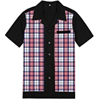Anchor MSJ Men's 50s Male Clothing Rockabilly Style Casual Cotton Blouse Mens Fifties Bowling Dress Shirts