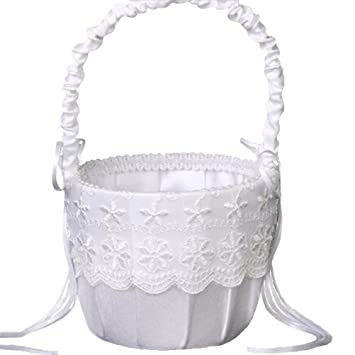 Amazon vivivalue flower girl basket wedding collection vivivalue flower girl basket wedding collection traditional white mightylinksfo