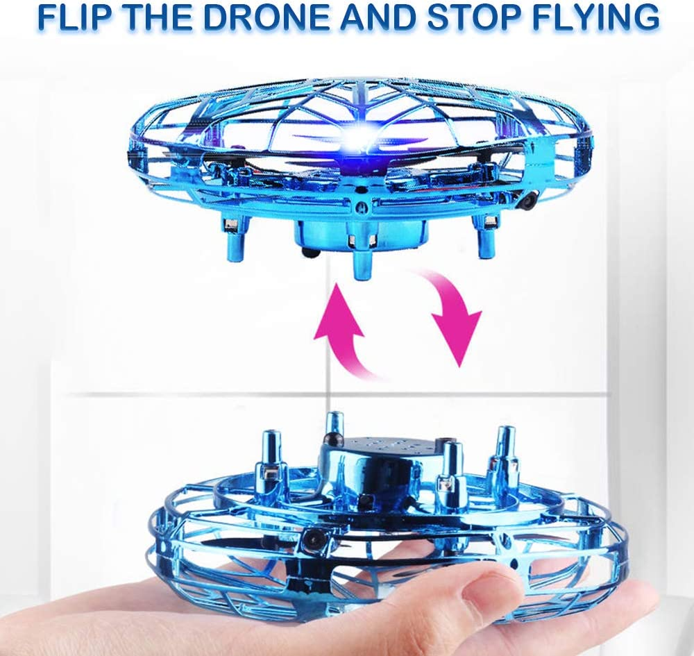 GALOPAR UFO Drone Toys for Kids Hand Operated Flying Drone for Kids Gifts USB Rechargeable with 360/°Rotating and LED Lights Hands-Free and Infrared Induction Interactive