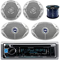 Kenwood KMRD365BT Bluetooth Marine Audio CD Player Receiver Bundle Combo With 2x JBL MS9520 6x9 2-Way White Coaxial Marine Speakers + 2x JBL MS6510 6.5 Boat Speakers + Enrock 50 Ft 16g Speaker Wire