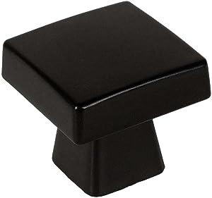 "25 Pack - Cosmas 5233FB Flat Black Contemporary Square Cabinet Knob - 1-1/8"" Square"