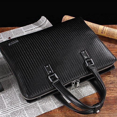 Hombre Hombre De Negocios Bolso Maletín Computer Bag Woven Pattern Doble Cremallera Casual Bolsa De Hombro Messenger Bag,Black Black