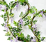 LEIKUS 2Pcs(6.6ft) Artificial Flowers Silk Wisteria Vine Leaf Rattan Hanging Garland for Wedding Party Garden Wall Decoration, Purple