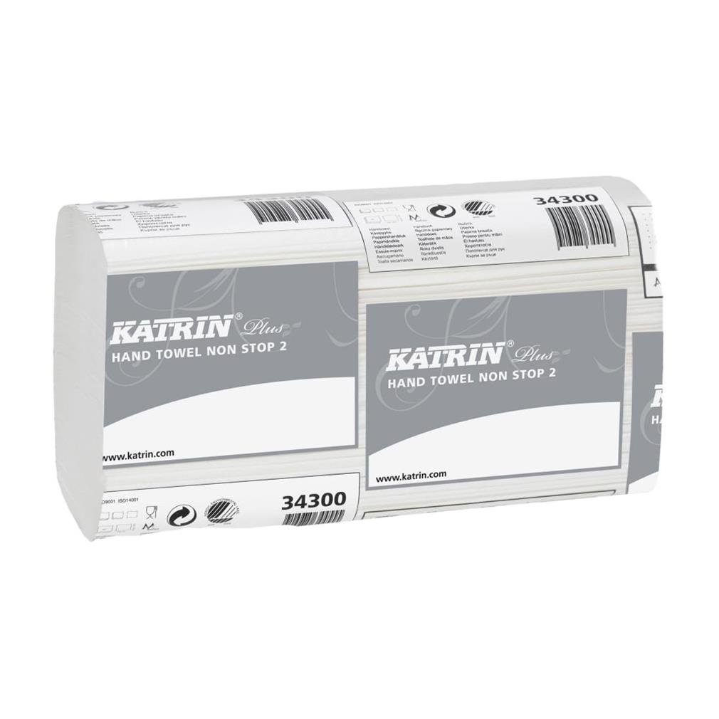 Katrin 344488 Plus quality Interleaved Zig Zag hand towels, 2-Ply, Smart packaging, white (Pack of 2475) Metsä Tissue