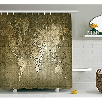 Amazon shower curtain antiques old world map globe art lounge antique decor shower curtain set by ambesonne old world map with great texture nostalgic ancient sciox Gallery