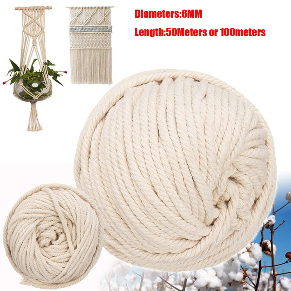 FINCOS 6mm Handmade Natural Cotton Rope Macrame Wall Hangings Plant Hanger Craft Making Knitting Cord Rope - (Color: 6mm x 100meters) by FINCOS (Image #1)