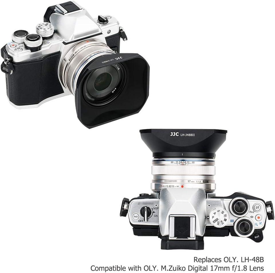 JJC Metal Lens Hood with Cap for Olympus M.Zuiko Digital 17mm f//1.8 Lens on E-M1 E-M5 E-M10 Mark II III PEN E-PL5 E-PL6 E-PL7 E-PL8 E-PL9 E-PL10 DSLR Camera Replaces for Olympus LH-48B lens hood