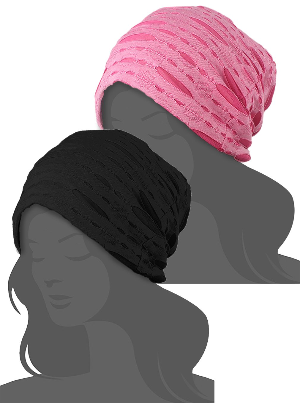 2 Pack Stylish Wrinkled Beanie Cap Slouchy Skull Hat Pink Blue 2 Pack