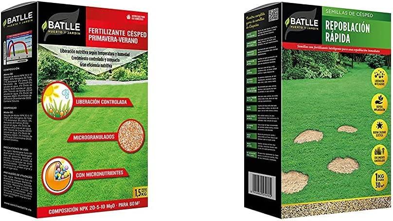 Batlle Abonos Fertilizante Cesped Primavera-Verano 1,5Kg + Semillas De Césped Césped Repoblación Rápida 1Kg
