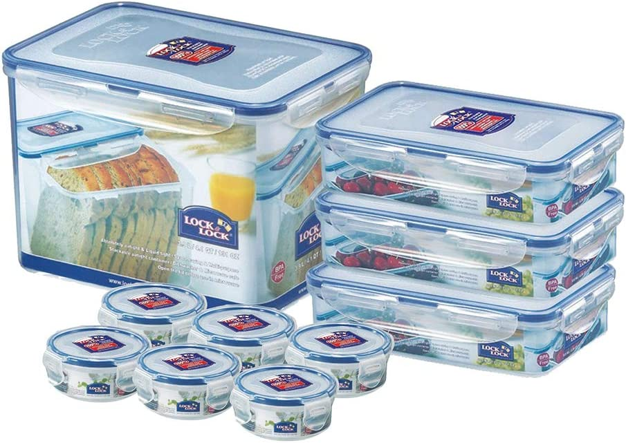 (Pack of 10) Lock & Lock Assorted Food Storage Airtight Container Set (SET-G) - 1 pack of 131-oz, 3 packs of 27-oz, 6 packs of 4.6-oz