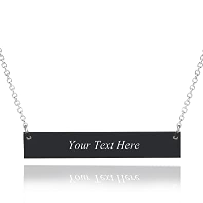 5506cac2f1f Caramel Sweet Life Personalized Stainless Steel Horizontal Bar Necklace  Pendant 5 Colors with Chain (Black