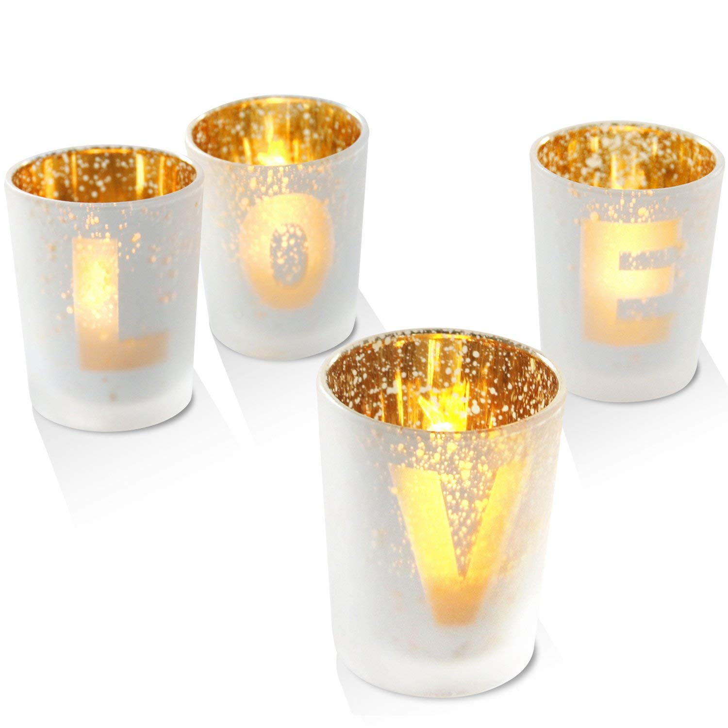 CODOHI Votive Candle Holders Gold Glass Love Letter Printed Tealight Candle Holder Set of 4-for Dining Table, Perfect for Anniversary/Wedding/Housewarming