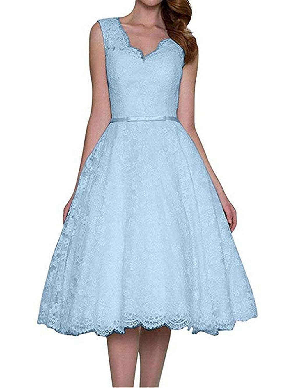 bluee JAEDEN Prom Dress Short Lace Evening Dresses with Belt Cocktail Party Gown V Neck