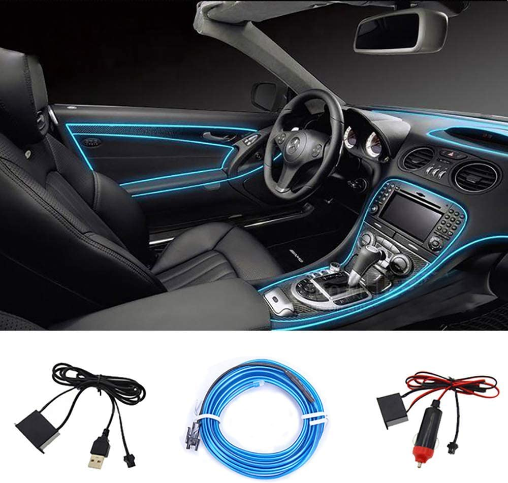 EL Wire LUBINXUN 3M Electroluminescent Wire Red 12V Interior Car Light Glowing Strobing Neon Light for Car Decoration