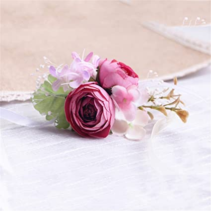 Amazon artificial silk flowers groom boutonniere women bride artificial silk flowers groom boutonniere women bride wrist corsage hand wedding flowers decoration dark pink mightylinksfo