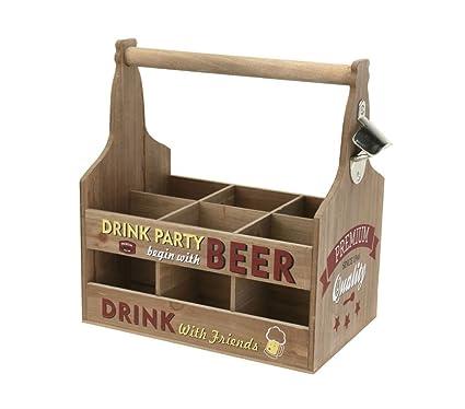 HOME Caja de Madera Porta Botellas Cerveza 6 plazas