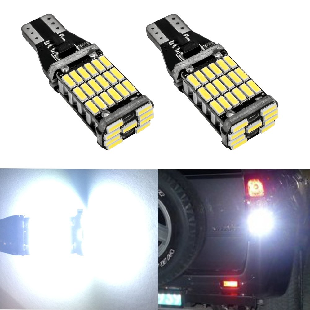 Nuokexin 2Pcs T15 T10 45SMD Chipsets LED Non Polarity Bulbs For Backup Reverse Lights 921 912 W16W 6000k (Amber) huinuoda