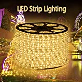GreenSun 65ft/20m 36LEDs/M LED Rope Strip Lights Warm White Colour Waterproof LED Tubing Rope String Lights for Holiday Garden Parties Wedding and Decora