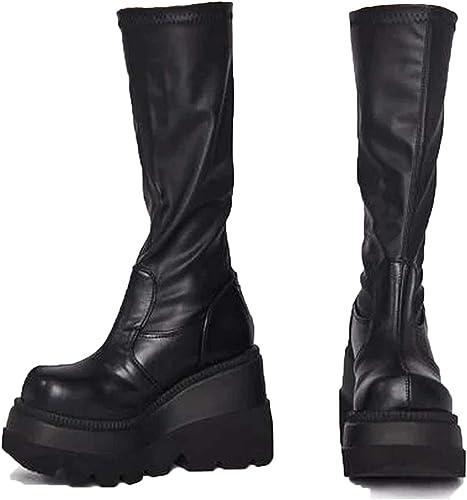cynllio Women's Wedges Knee High Boots