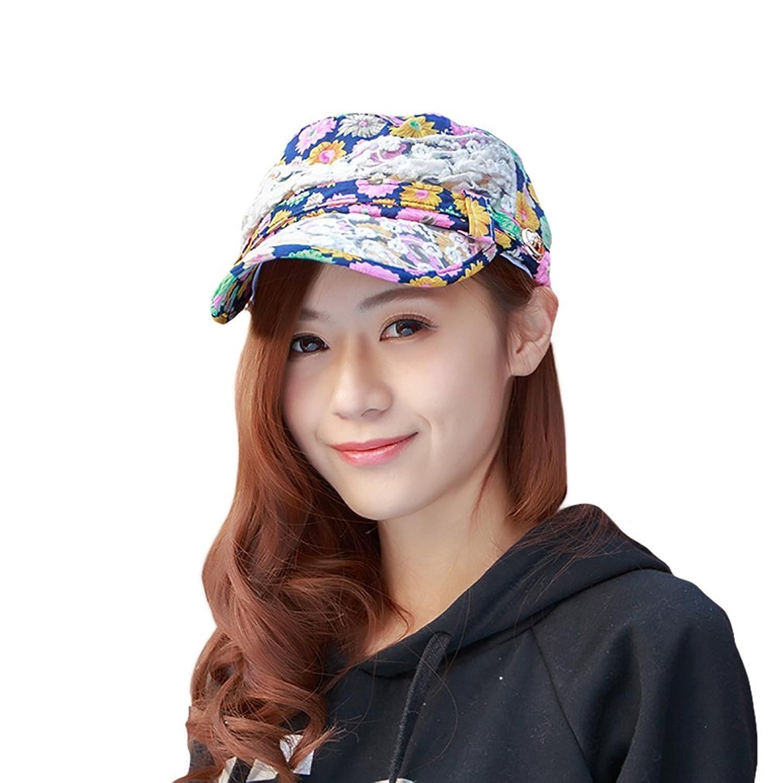 Smile YKK Women Spring Summer Outdoor Lace Floral Flat Hat Newsboy Cap