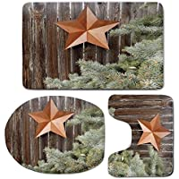 3 Piece Bath Mat Rug Set,Primitive-Country-Decor,Bathroom Non-Slip Floor Mat,Big-Orange-Star-on-Rough-Wood-Fences-Pine-Branches-Print-Decorative,Pedestal Rug + Lid Toilet Cover + Bath Mat,Orange-Green