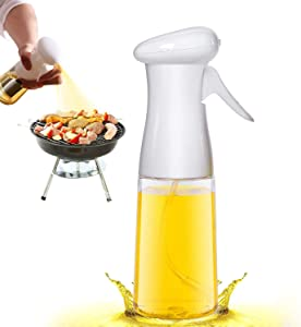 Olive Oil Sprayer for Cooking - 210ml Oil Dispenser Bottle Spray Mister - Portable Refillable Food Grade Oil Vinegar Spritzer Sprayer Bottles for Kitchen, Air Fryer, Salad, Baking, Grilling, Frying