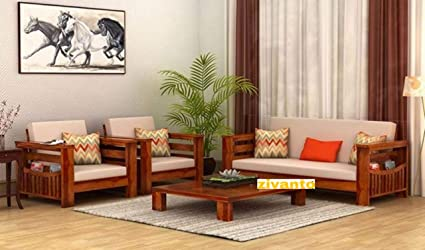 Zivanto Sheesham Sofa Set for Living Room Wood Furniture | Office | Wooden  Sofa Set 3+1+1 | Walnut Brown