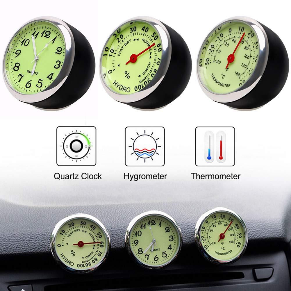 per Auto wuudi Camion con luminosit/à Termometro per Auto Rotondo 3 Pezzi igrometro Portatile SUV