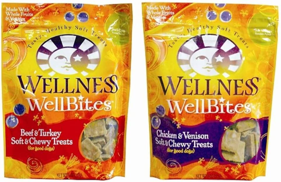 Wellness WellBites Soft & Chewy Treats For Good Dogs 2 Flavor Variety Bundle: (1) Wellness WellBites Beef & Turkey Recipe Soft & Chewy Treats, and (1) Wellness WellBites Chicken & Venison Soft & Chewy Treats, 6 Oz. Ea. (2 Bags Total)
