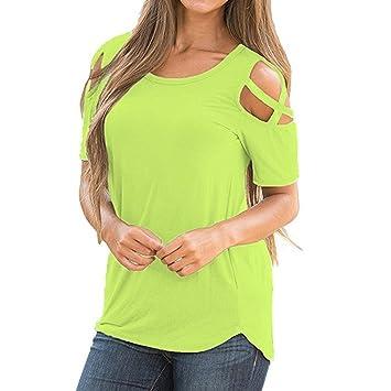 HOSOME Women Top Women Summer Short Sleeve Strappy Cold Shoulder T-Shirt Tops Blouses