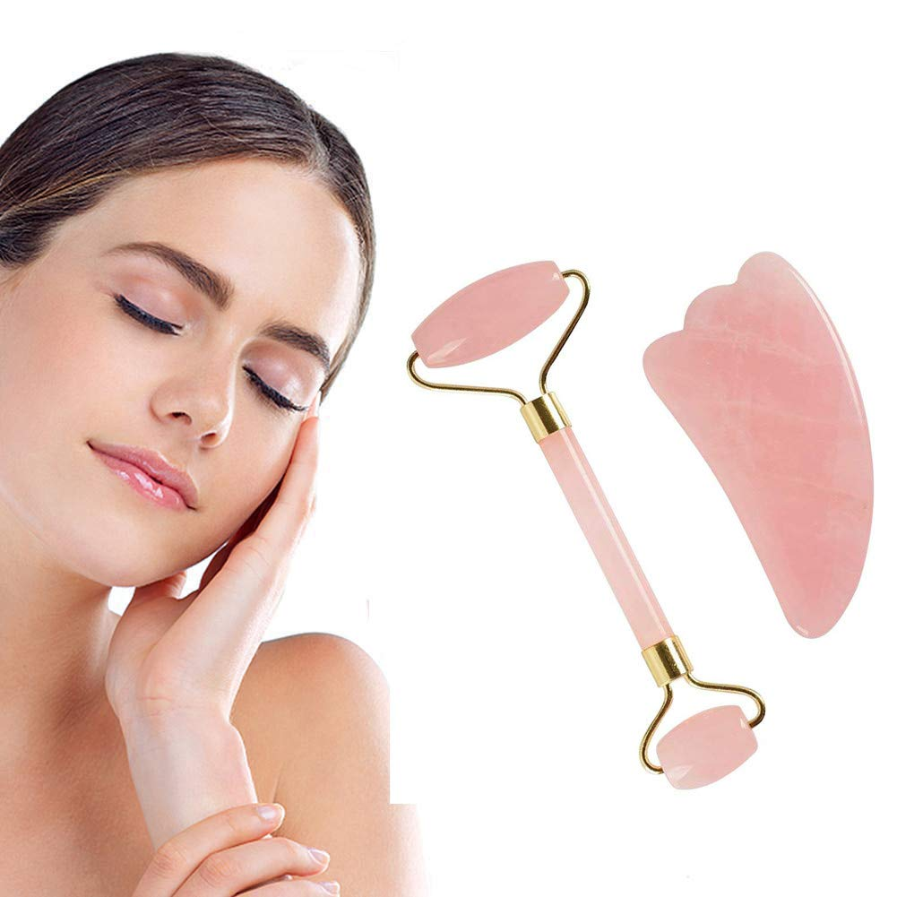 Facial Roller Massager,QHJ Face Slimming 2PCS Powder Crystal Natural Jade (Scraping Board + Massager) (Random)