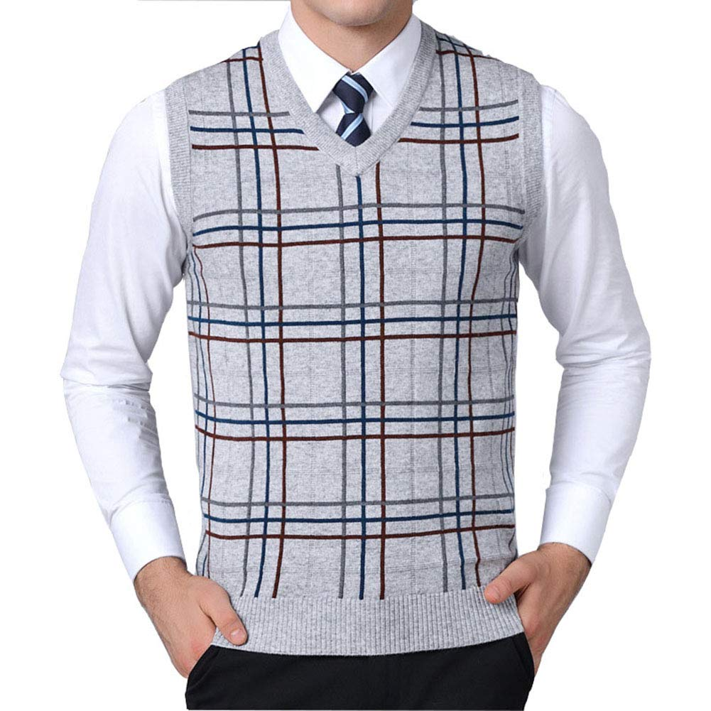 Mixsense Mens Fashion Warm Sleeveless Argyle V-Neck Wool Knitwear Sweater Vest