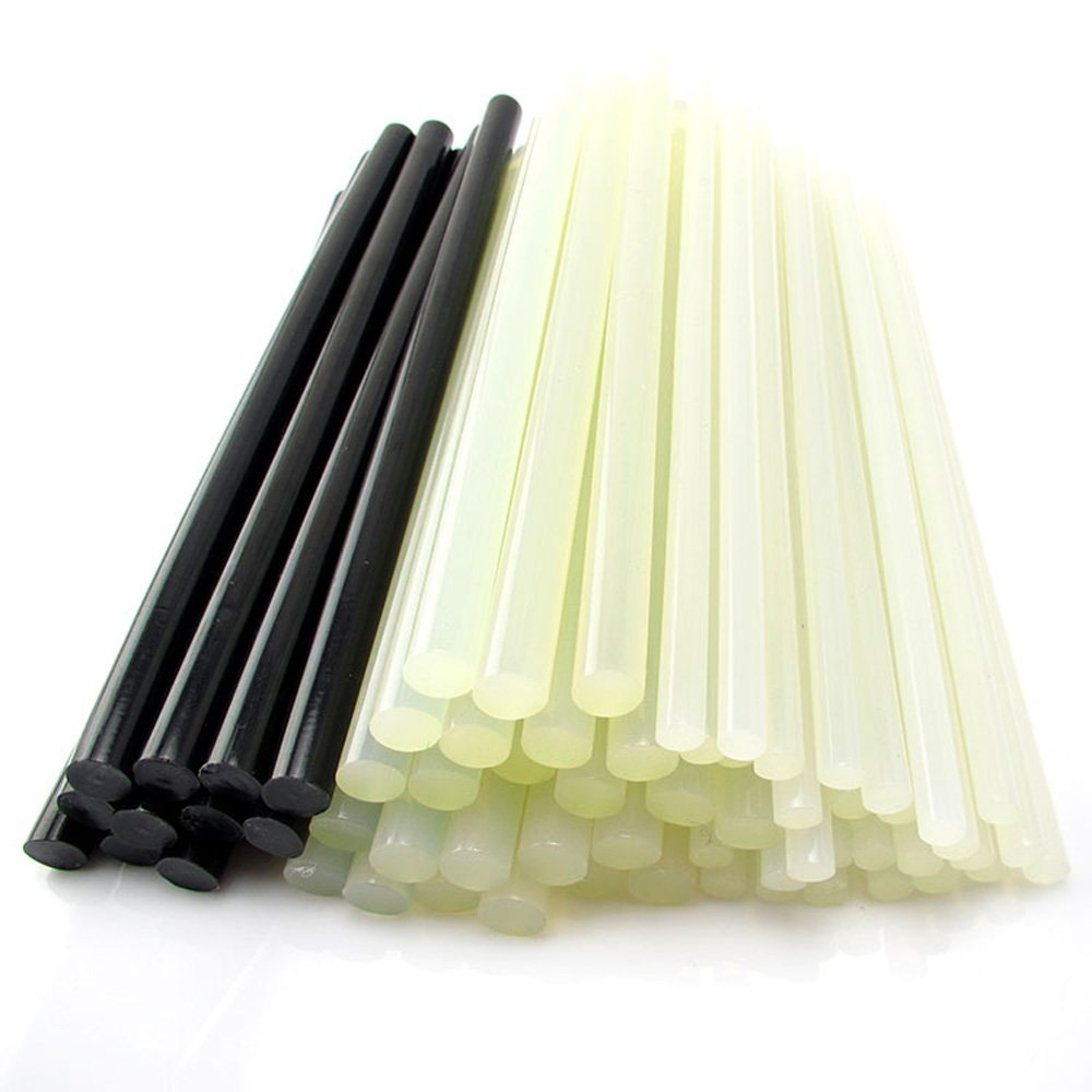 POLISI Wately Dual Temperature 11mm200mm 8-in0.44-in Hot Glue Sticks Hot Melt Adhesives , One Set 12 Sticks (6 Pieces Translucent and Another 6 Black)