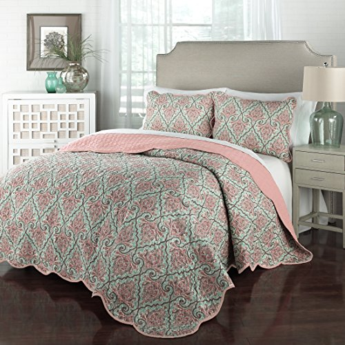 Traditions by Waverly 15218BEDDKNGOPL Anatalya 104-Inch by 90-Inch 3-Piece King Quilt Collection, Opal