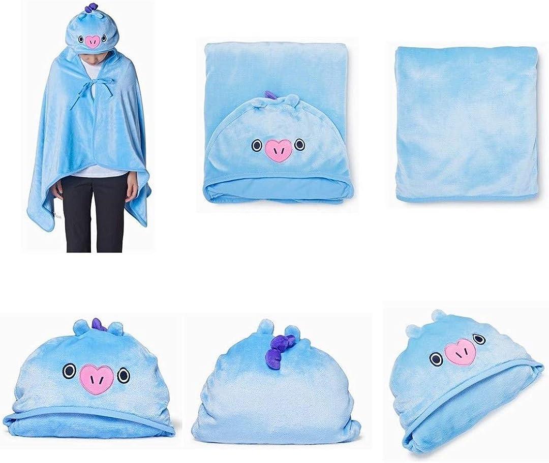 Silver Basic Kpop BTS Hoodie Blanket Bangtan Boys Cute Cartoon Plush Hooded Knee Blanket Outdoor Hoody Outfit Blue-1
