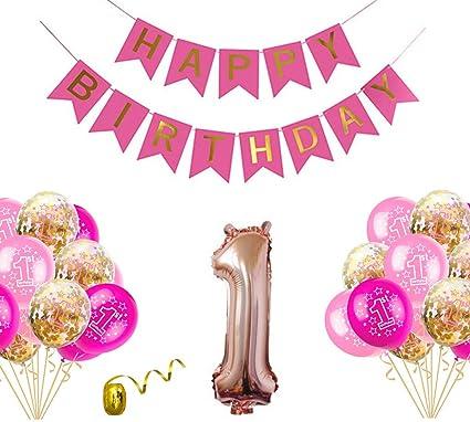Joyeux Anniversaire Bannière rose et or Bannière Anniversaire Décorations Bunting