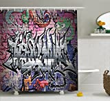 small bathroom paint ideas Ambesonne Rustic Home Decor Shower Curtain, Graffiti Grunge Art Wall Several Creepy Underground City Paint, Fabric Bathroom Decor Set with Hooks, 75 Inches Long, Grey Pink