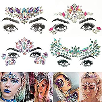 318fb2819 TEAMWIN Face Gems 4 Sets, Self-adhesive Face Jewel Eyes Face Makeup  Stickers Body