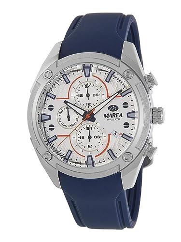 Reloj Marea Analógico Multifunción Hombre B54156/1 con Calendario, Correa de Silicona Azul y Esfera Plateada: Amazon.es: Relojes