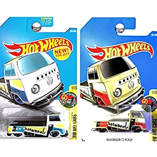 Hot Wheels 2017 HW Art Cars Volkswagen T2 Pickup Truck Tan and White Set of 2