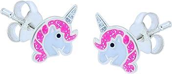 SL-Silver Ohrringe Kinderohrringe Einhorn Pferd 925 Silber