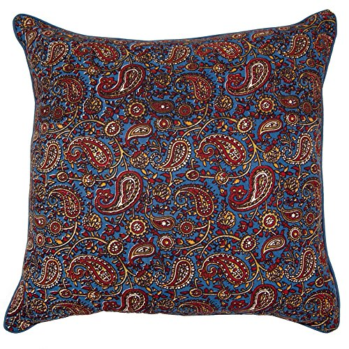 Pack of 2 Decorative Indian Hand Made Print Cotton Throw Pillow Covers - 18x18 - Paisley Print - Home Decor - Accent Pillows - Throw Pillows for Couch