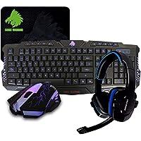 Eagle Warrior Kit Gamer 4 en 1 Teclado G79/ Ratón G16/ Diadema HS-501 Azules/Mousepad