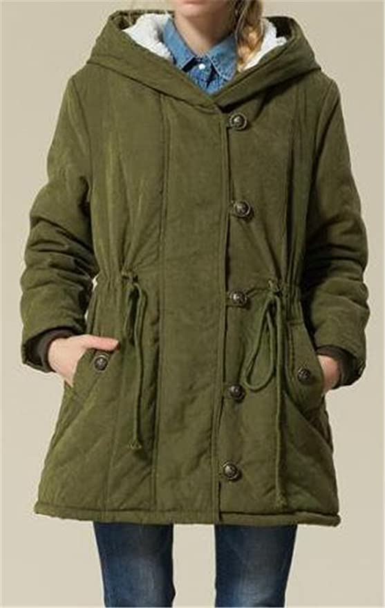 19662d40845be Amazon.com  Cromoncent Womens Winter Plus Size Wool-Lined Hooded Parkas  Jackets Coat  Clothing