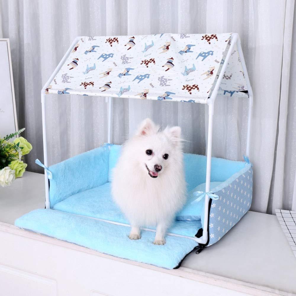 bluee 63X43X63cmFELICIOO Pet Tent Kennel Cat Litter Pet House Pet Supplies Removable And Washable (color   bluee, Size   63X43X63cm)