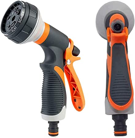 Hose Nozzle Garden Metal Spray Nozzle High Pressure 8 Patterns Thumb Control for
