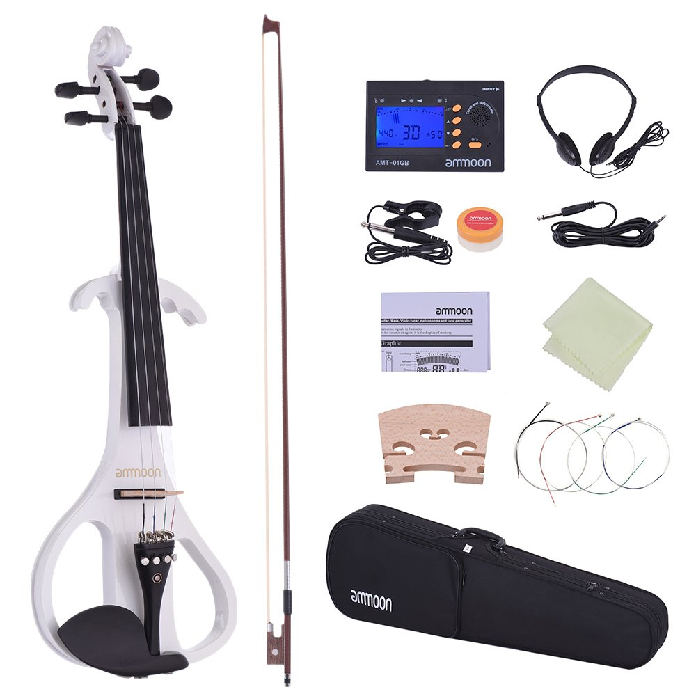 ammoon Violin Full Size 4/4 Solid Wood Electric Silent Violin Fiddle Ebony Fingerboard Pegs Chin Rest Tailpiece with Bow Hard Case Tuner Headphones Rosin Extra Strings & Bridge (White)