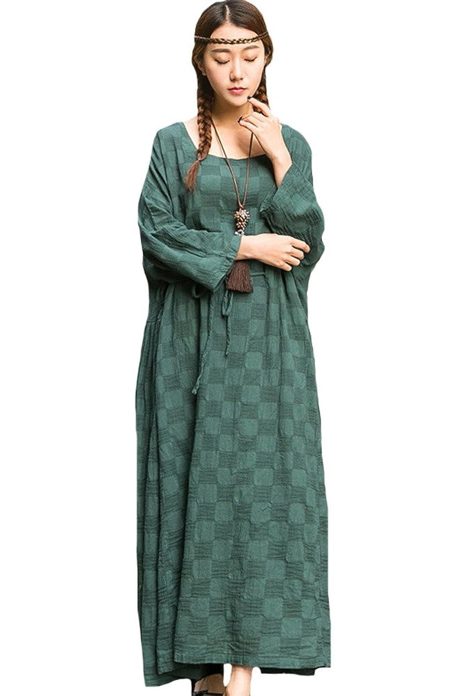 Vogstyle Damen Plaid Muster Dress Justierbare Taille Große Hemline Kleider