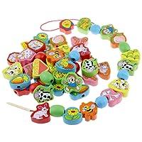 Gobus 66 pezzi in legno colorato perline animali perline di collegamento allacciatura perline perline attività giocattoli primi giocattoli educativi